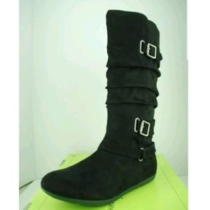Other - Suede mid calf boots with silver buckles